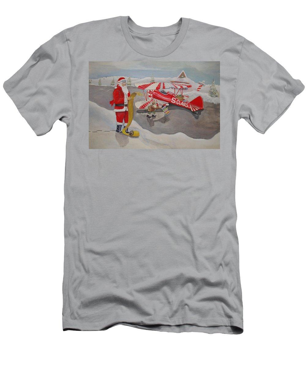 Rick Huotari Men's T-Shirt (Athletic Fit) featuring the painting Santa's Airport by Rick Huotari