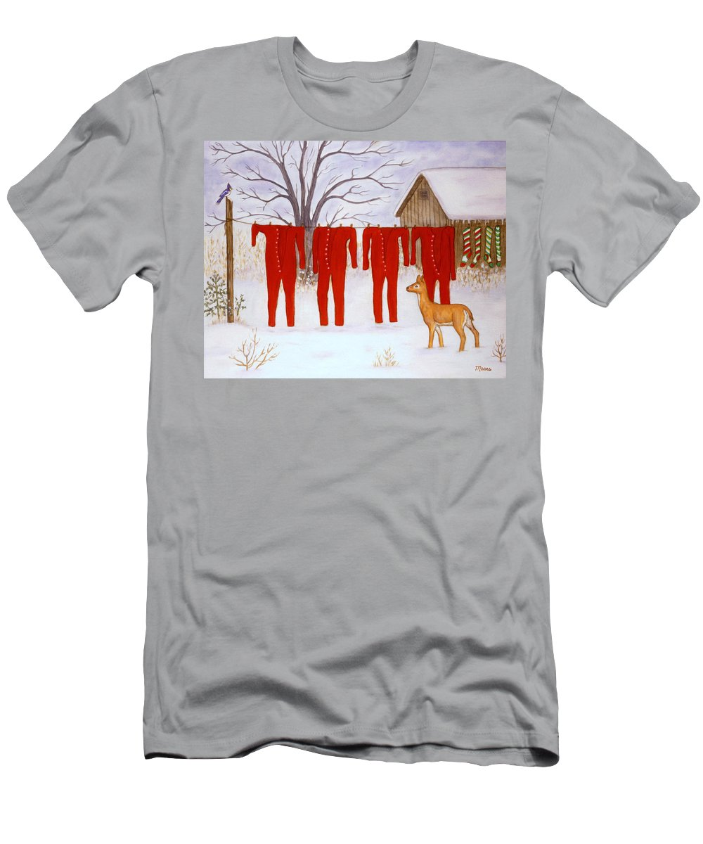 Snow Scene Men's T-Shirt (Athletic Fit) featuring the painting Santa's Long Johns by Linda Mears