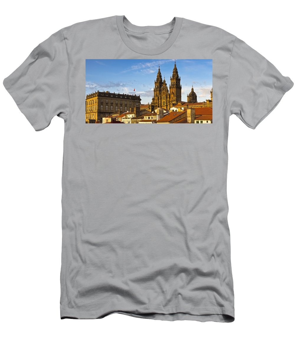 Panorama Men's T-Shirt (Athletic Fit) featuring the photograph Santiago De Compostela Cathedral Galicia Spain by Pablo Avanzini
