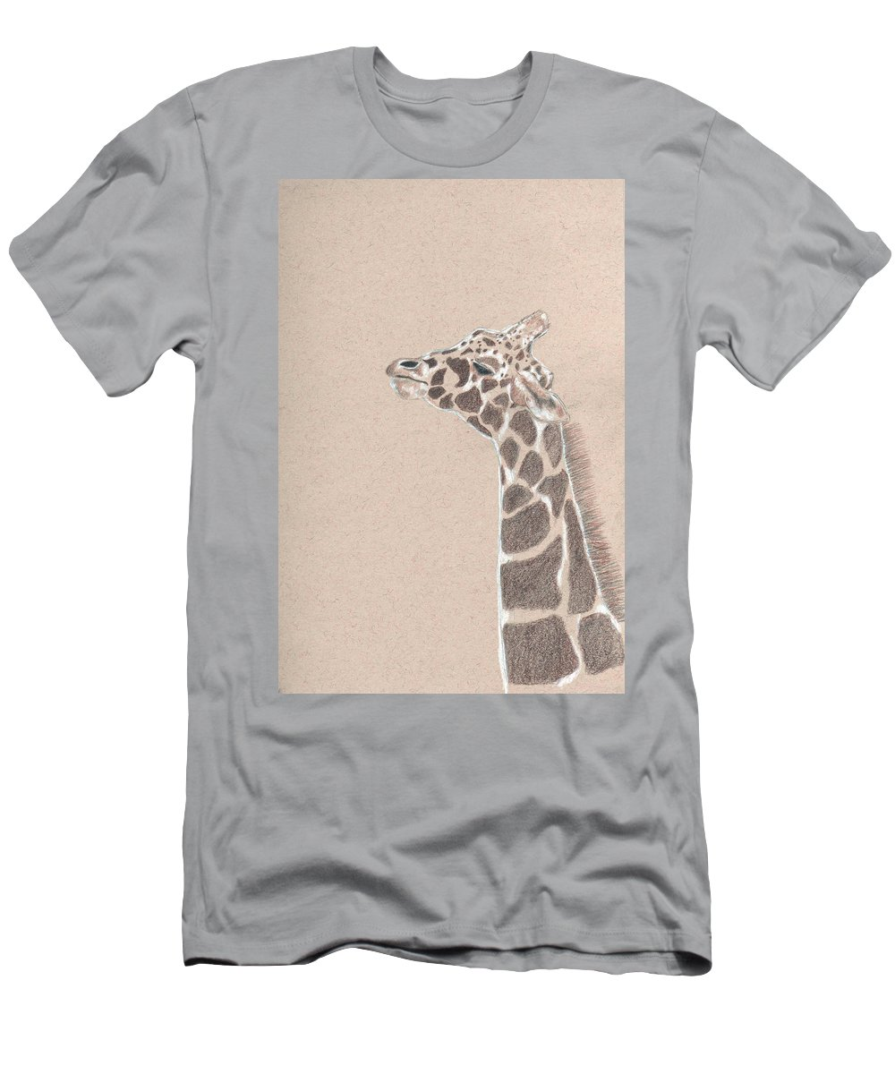 Giraffe Men's T-Shirt (Athletic Fit) featuring the drawing Savannah by Crystal Hubbard