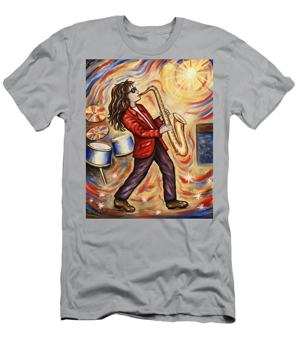 Music Men's T-Shirt (Athletic Fit) featuring the painting Sax Man by Linda Mears