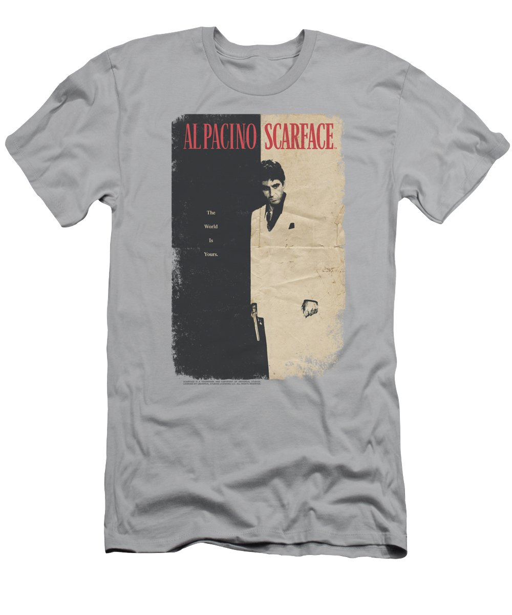 Scareface Men's T-Shirt (Athletic Fit) featuring the digital art Scarface - Vintage Poster by Brand A