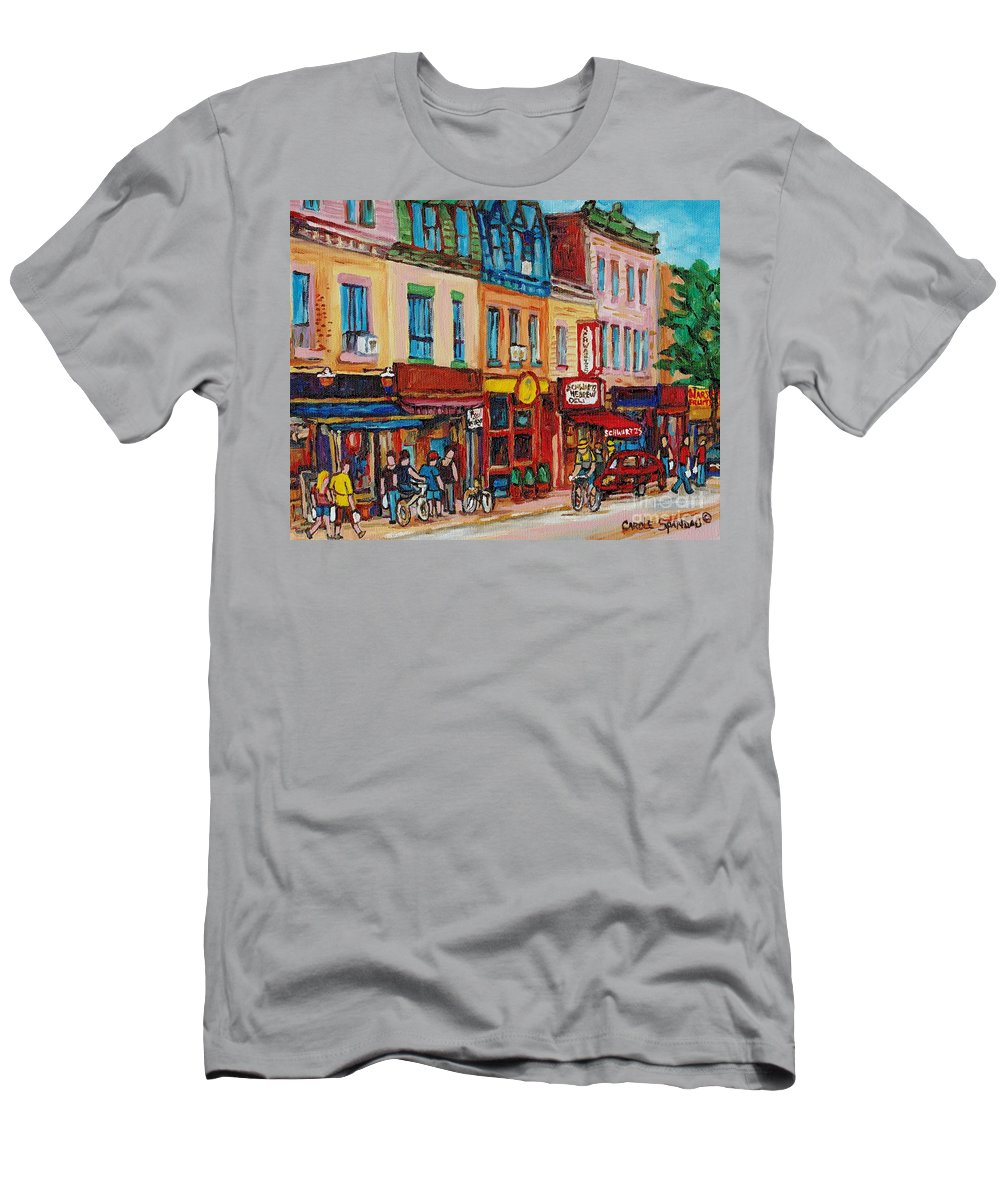 Schwartz Deli Men's T-Shirt (Athletic Fit) featuring the painting Schwartzs Deli And Warshaw Fruit Store Montreal Landmarks On St Lawrence Street by Carole Spandau