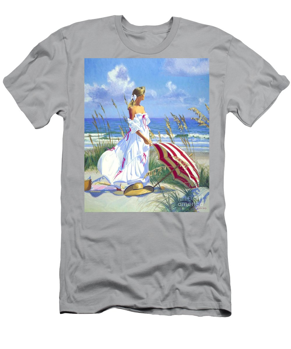 Impressionist Men's T-Shirt (Athletic Fit) featuring the painting Sea Oats by Candace Lovely