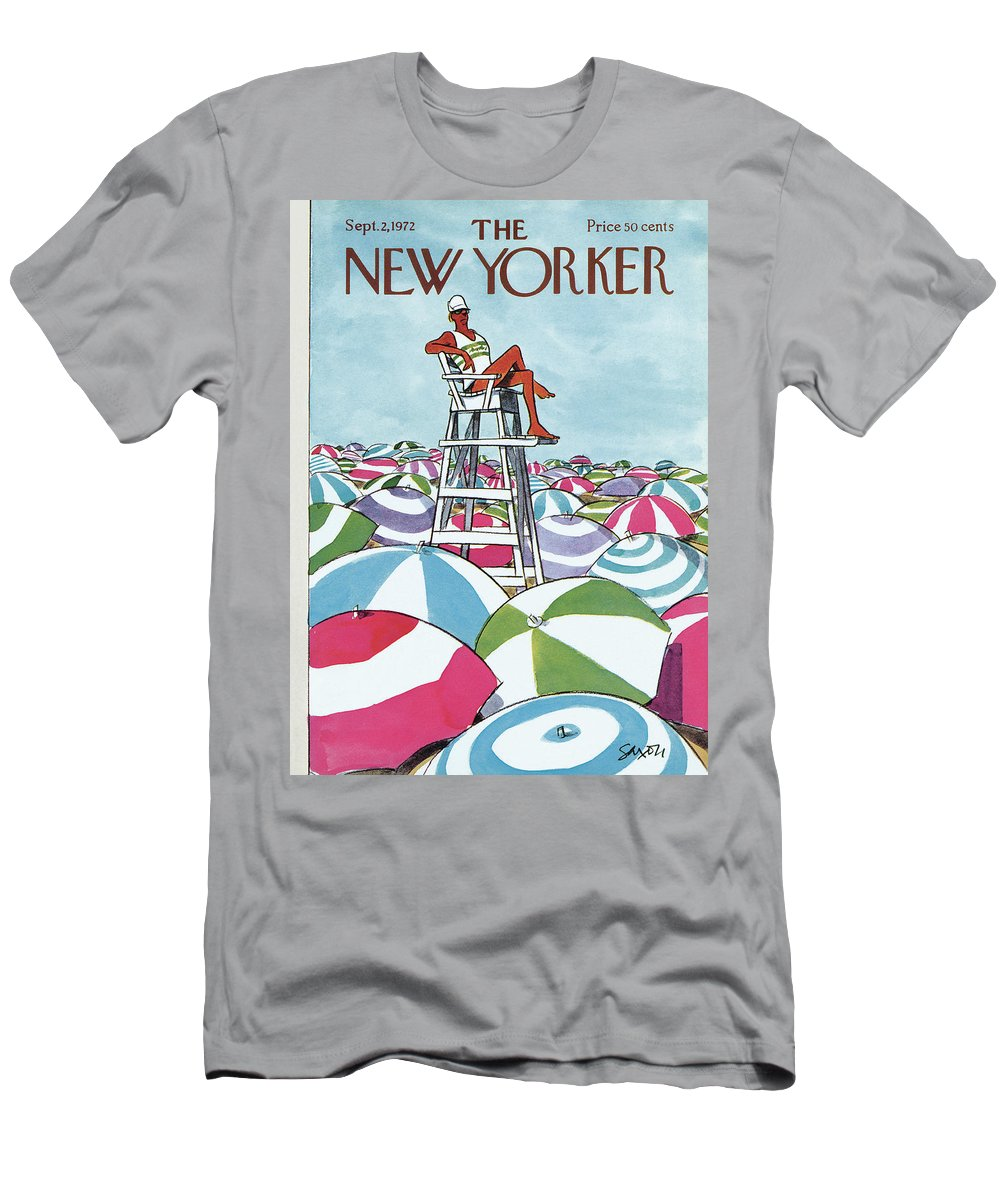 Charles Saxon T-Shirt featuring the painting Sea Of Umbrellas by Charles Saxon