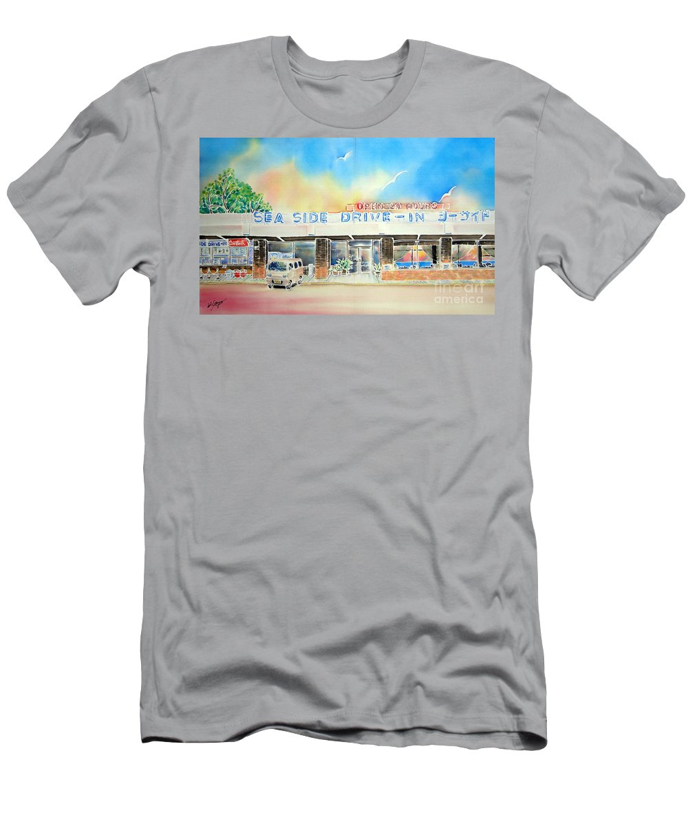 Resteurant Men's T-Shirt (Athletic Fit) featuring the painting Sea Side Drive In by Hisayo Ohta