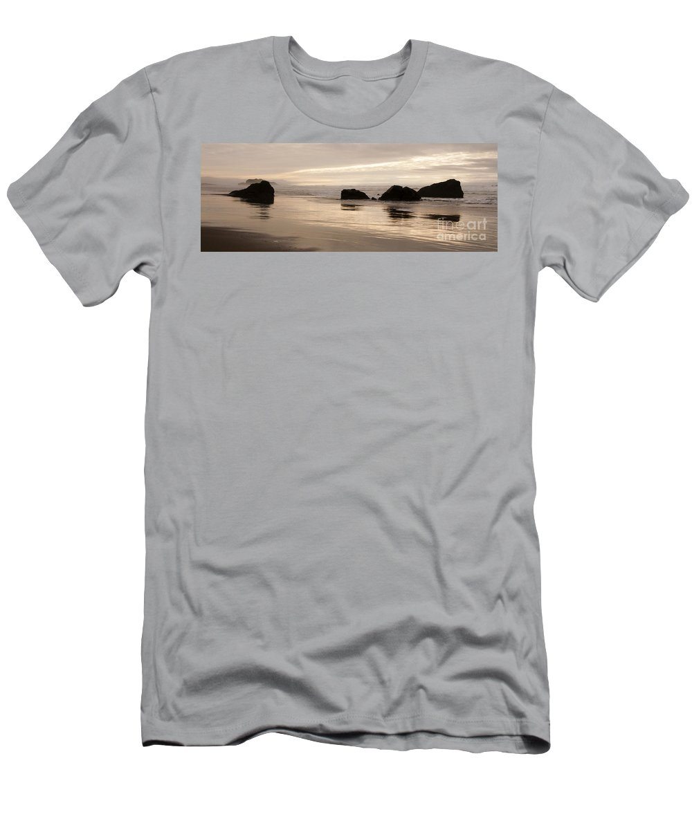 Sunset Men's T-Shirt (Athletic Fit) featuring the photograph Sea Stacks Panorama by Vivian Christopher