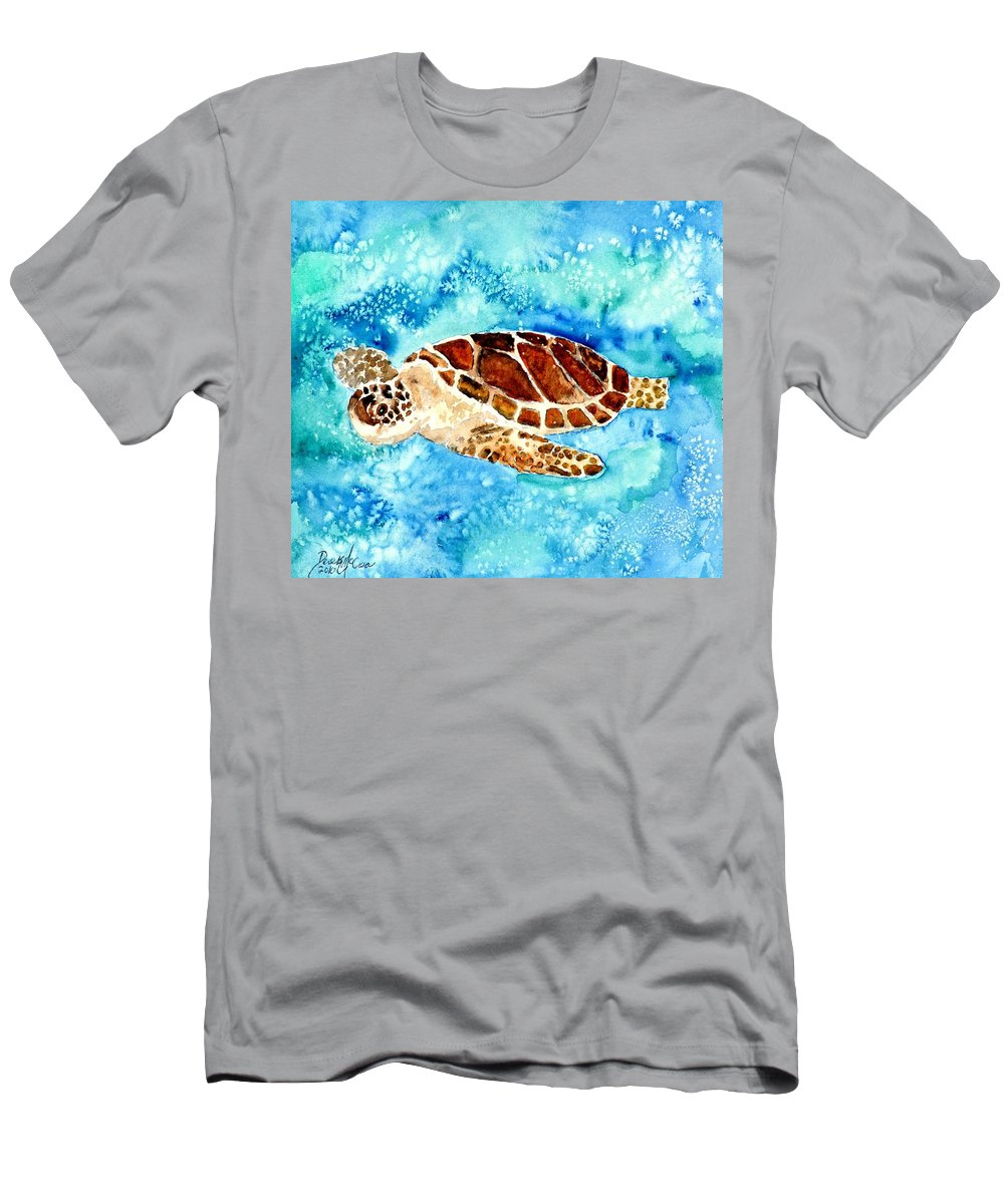Sea Turtle T-Shirt featuring the painting Sea Turtle by Derek Mccrea