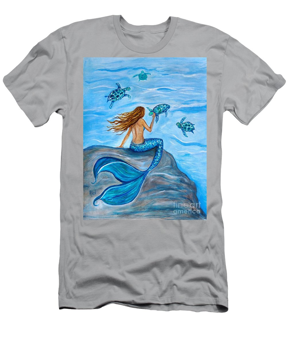 Mermaid Tail Men's T-Shirt (Athletic Fit) featuring the painting Sea Turtle Friends by Leslie Allen