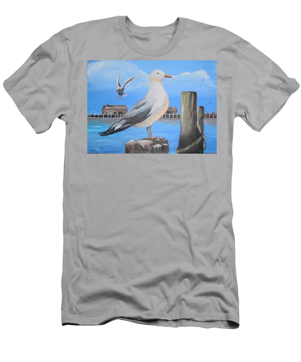 Birds Men's T-Shirt (Athletic Fit) featuring the painting Seagull On Piling by Catherine Swerediuk
