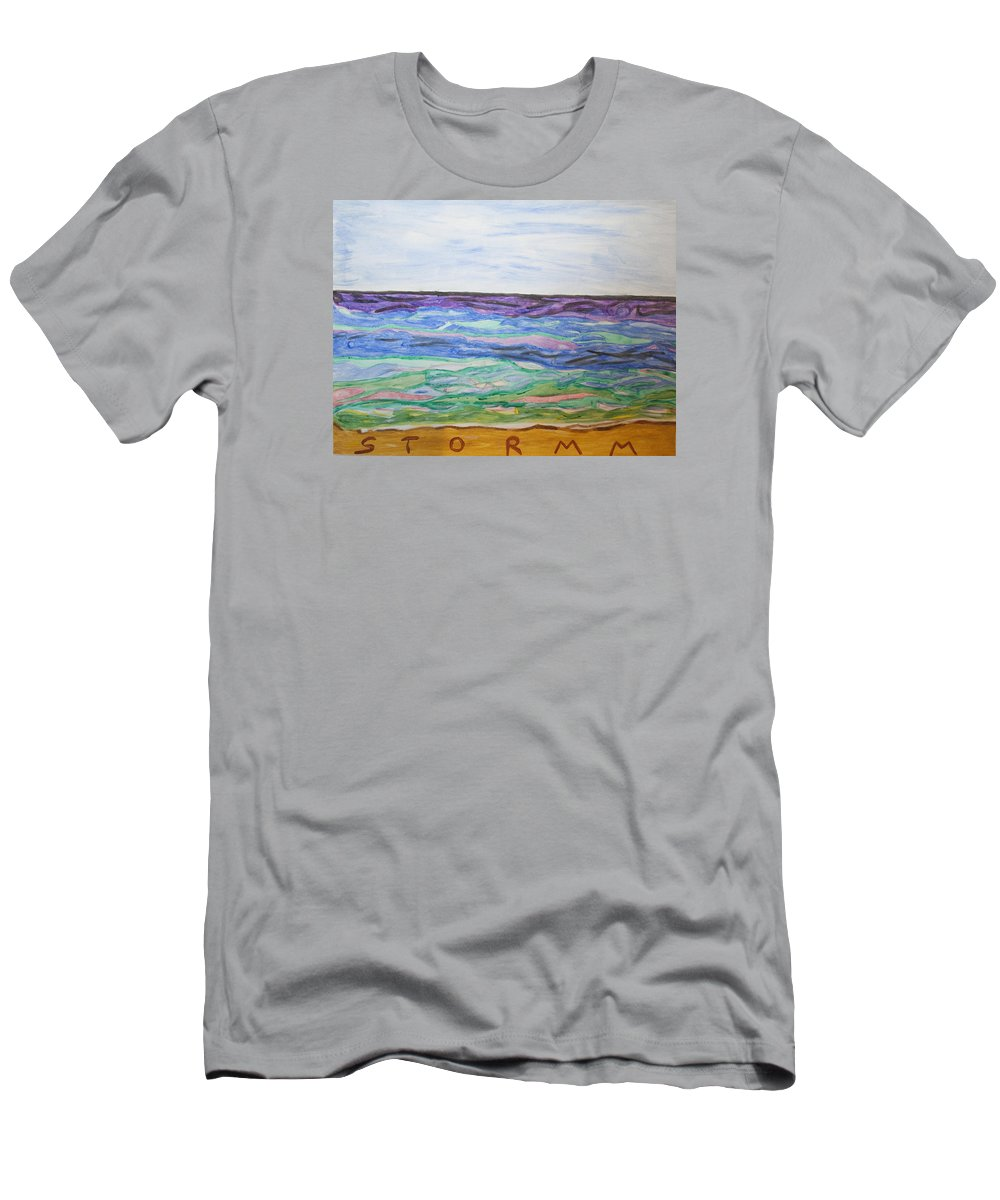 Blue Sky Men's T-Shirt (Athletic Fit) featuring the painting Sunny Seashore by Stormm Bradshaw