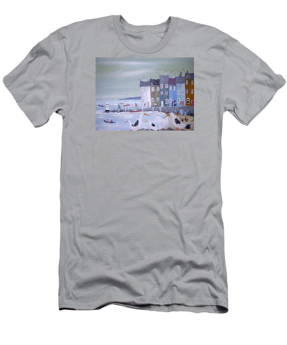 Seascape Men's T-Shirt (Athletic Fit) featuring the painting Seaside Seagulls by Trudy Kepke