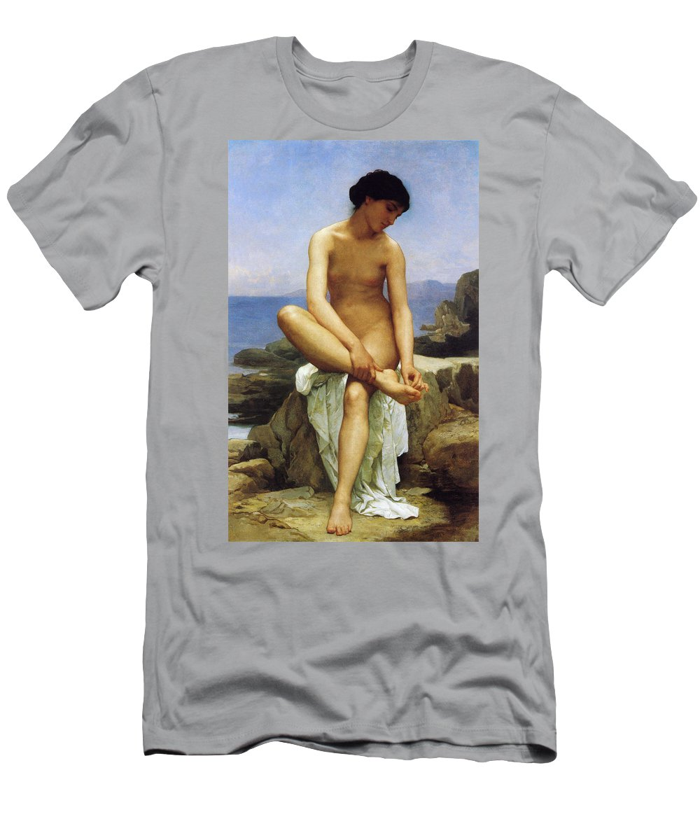 William Bouguereau Men's T-Shirt (Athletic Fit) featuring the digital art Seated Bather by William Bouguereau
