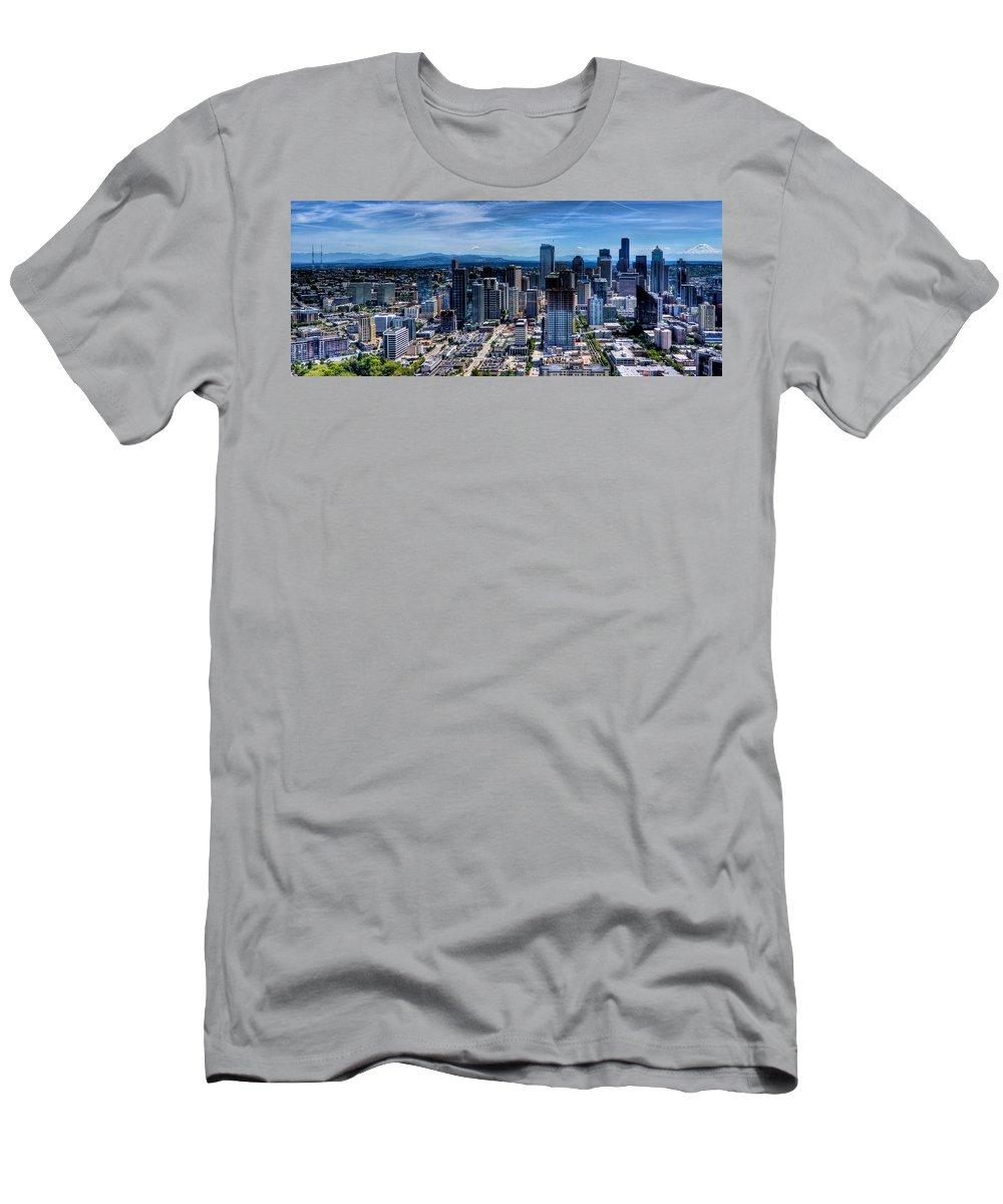 City Men's T-Shirt (Athletic Fit) featuring the photograph Seattle City by Jonny D