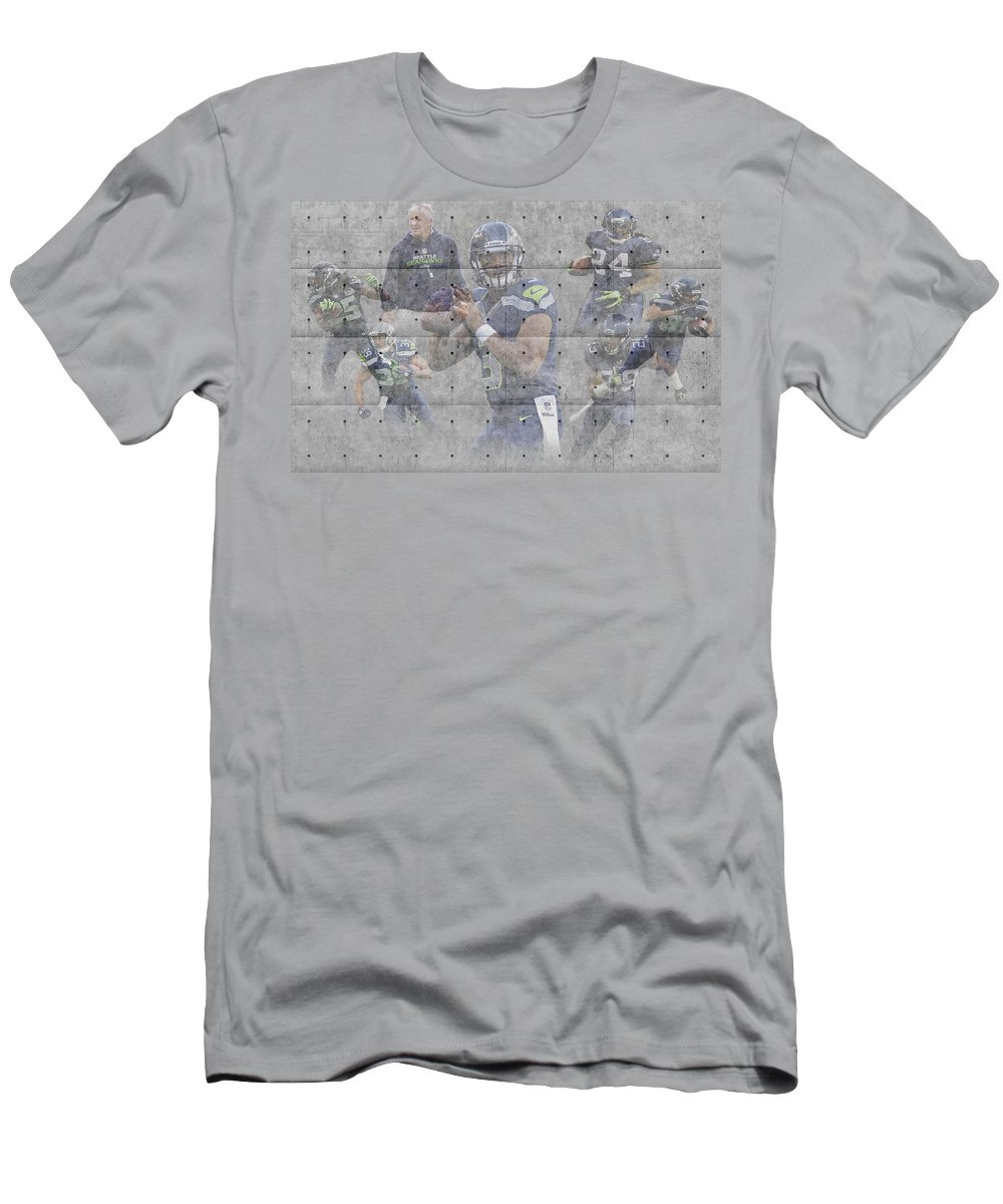 Seahawks Men's T-Shirt (Athletic Fit) featuring the photograph Seattle Seahawks Team by Joe Hamilton