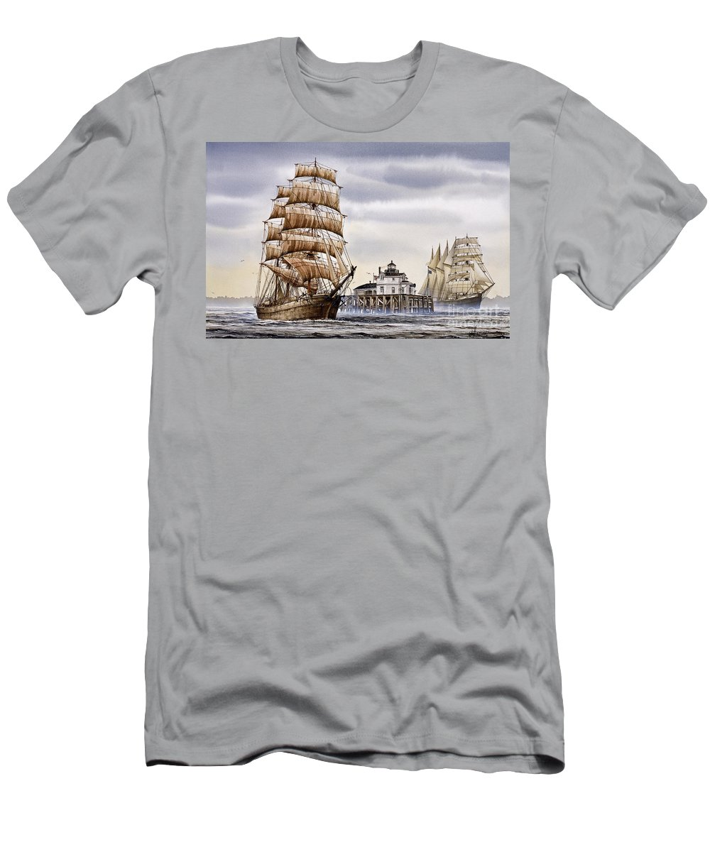 Tall Ship Print Men's T-Shirt (Athletic Fit) featuring the painting Semi-ah-moo Lighthouse by James Williamson