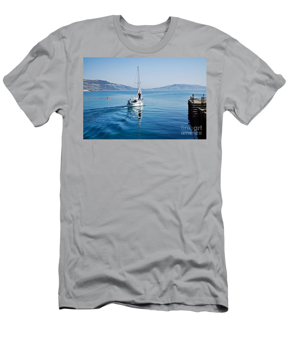 Lyme Regis Men's T-Shirt (Athletic Fit) featuring the photograph Setting The Sails by Susie Peek