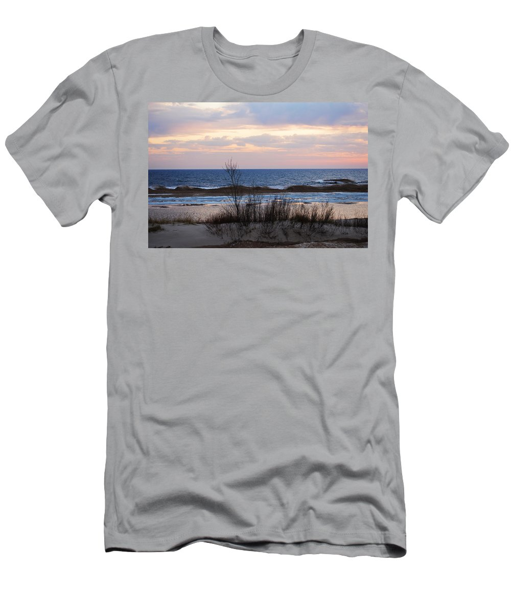 Lake Michigan Men's T-Shirt (Athletic Fit) featuring the photograph Shades Of Blue by Linda Kerkau