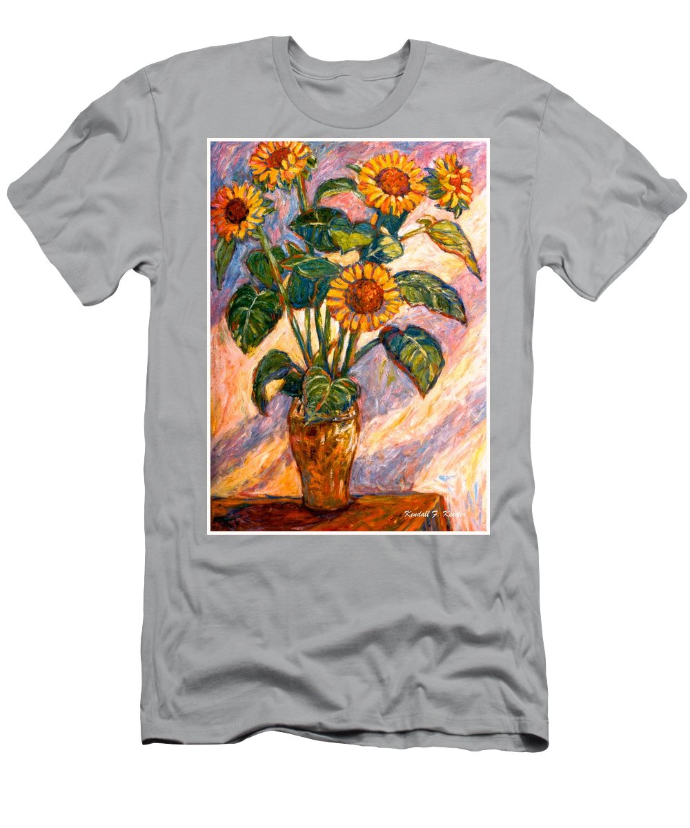 Floral Men's T-Shirt (Athletic Fit) featuring the painting Shadows On Sunflowers by Kendall Kessler