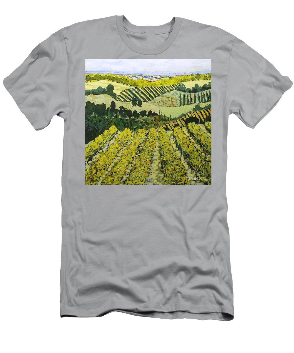 Landscape Men's T-Shirt (Athletic Fit) featuring the painting Sharing The Discovery by Allan P Friedlander