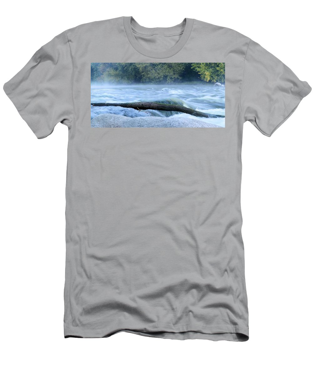 Rapids Men's T-Shirt (Athletic Fit) featuring the photograph Shell Rock Rapids Two by Bonfire Photography