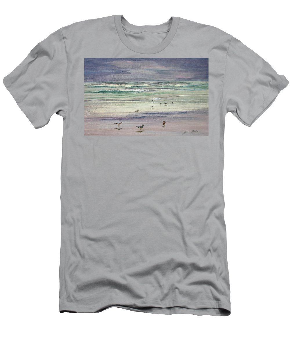 Original Paintings T-Shirt featuring the painting Shoreline Birds IIi by Julianne Felton