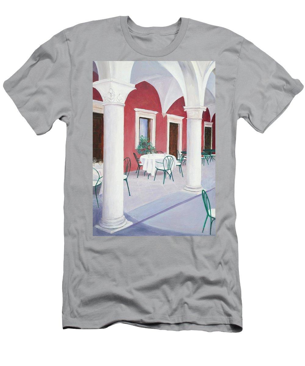 Sibenik Men's T-Shirt (Athletic Fit) featuring the painting Sibenik Cafe Croatia by Jan Matson