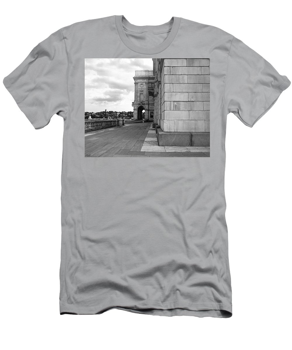 Providence Men's T-Shirt (Athletic Fit) featuring the photograph Side Entrance Bw by Lourry Legarde