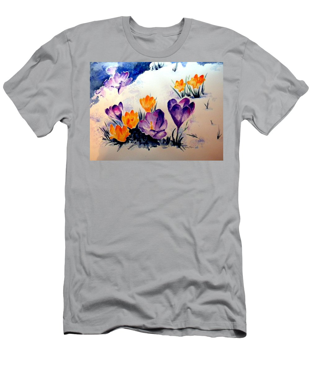 Flowers In Snow Men's T-Shirt (Athletic Fit) featuring the painting Signs Of Spring by Sandy Ryan