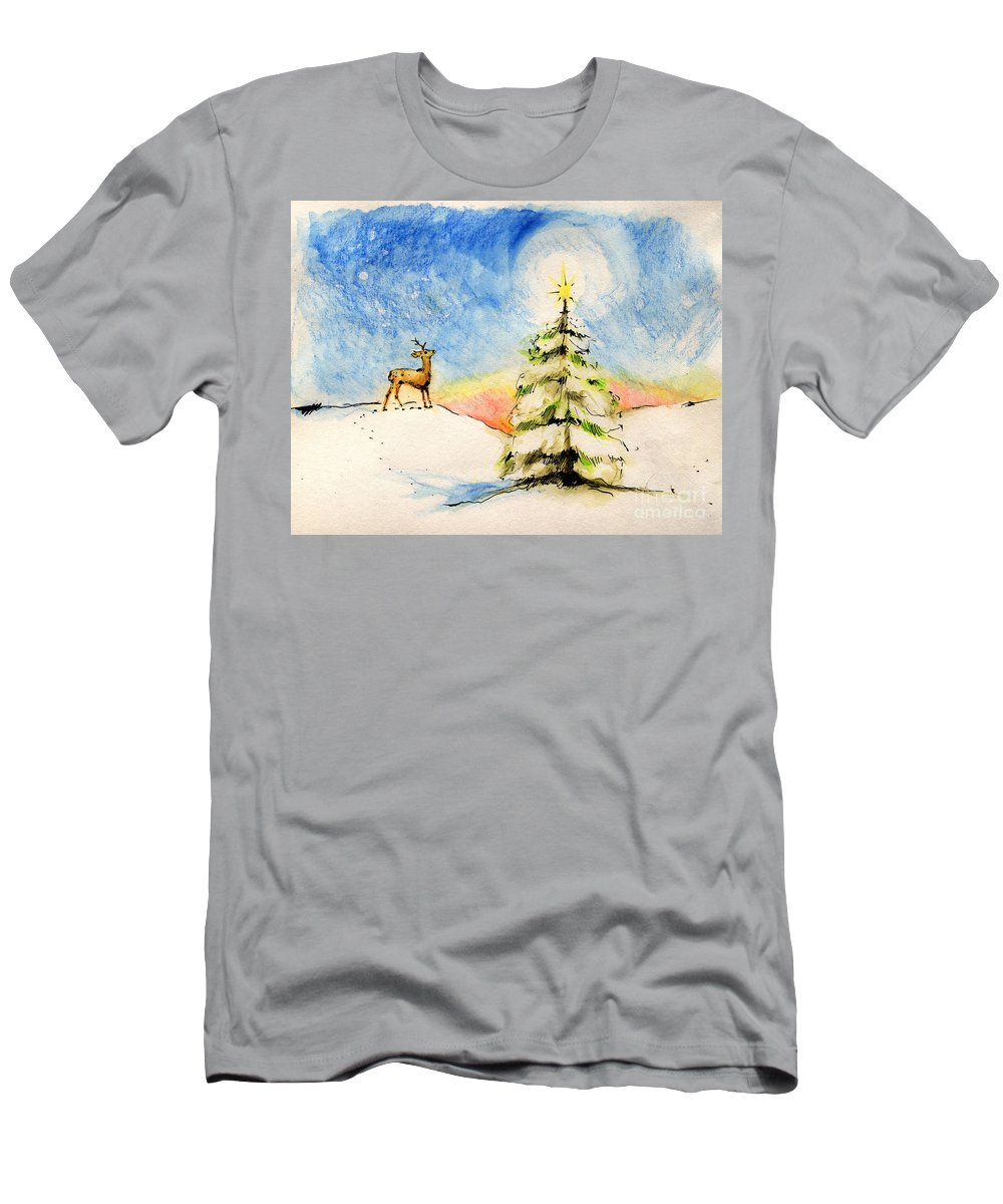 Christmas Men's T-Shirt (Athletic Fit) featuring the painting Silent Night by Angel Ciesniarska