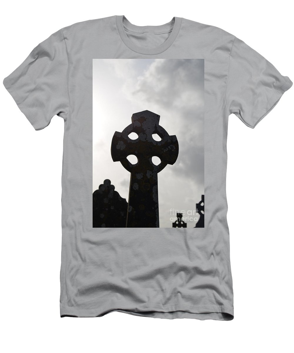 Celtic Men's T-Shirt (Athletic Fit) featuring the photograph Silhouetted Celtic Cross by DejaVu Designs
