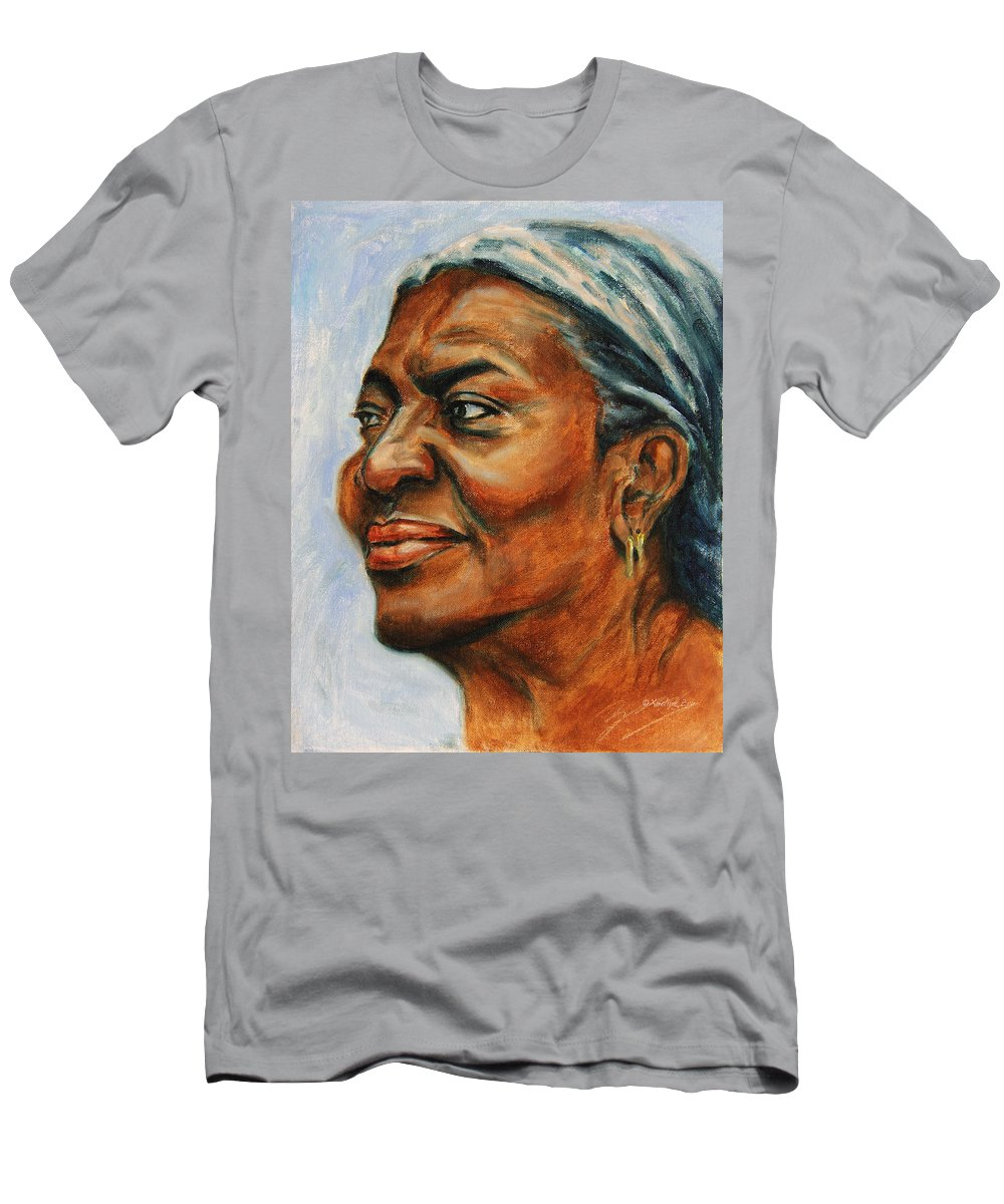 Soul-mate Men's T-Shirt (Athletic Fit) featuring the painting Silver Girl by Xueling Zou