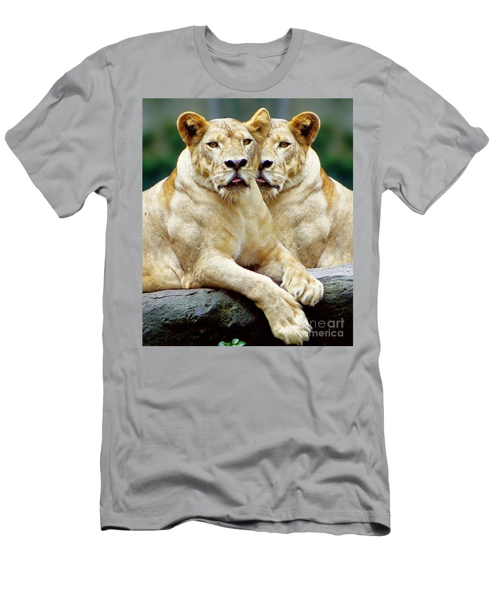Animals Men's T-Shirt (Athletic Fit) featuring the photograph Sisters by Ben Yassa