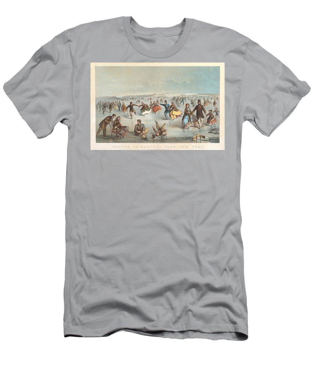 Winslow Homer Men's T-Shirt (Athletic Fit) featuring the drawing Skating In Central Park. New York by Winslow Homer