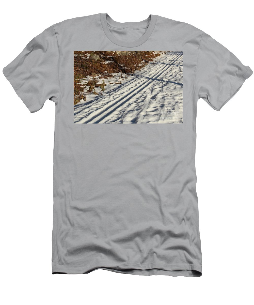 Spring Men's T-Shirt (Athletic Fit) featuring the photograph Ski Track In Sunlight In Spring by Kerstin Ivarsson