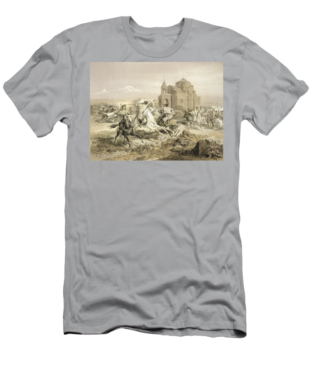 Fight Men's T-Shirt (Athletic Fit) featuring the drawing Skirmish Of Persians And Kurds by Grigori Grigorevich Gagarin