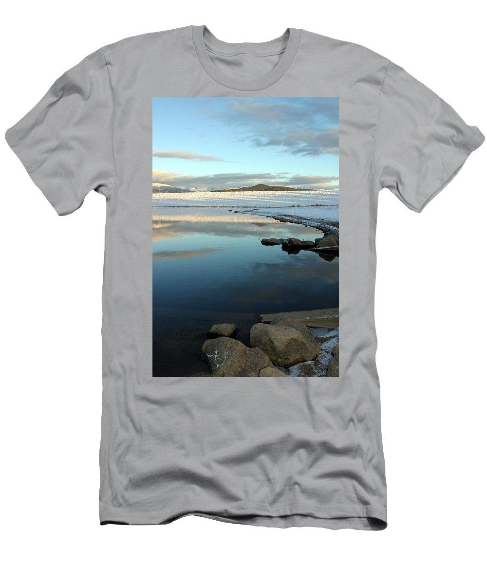 Landscape Men's T-Shirt (Athletic Fit) featuring the photograph Sky Lake by Scott Mahon