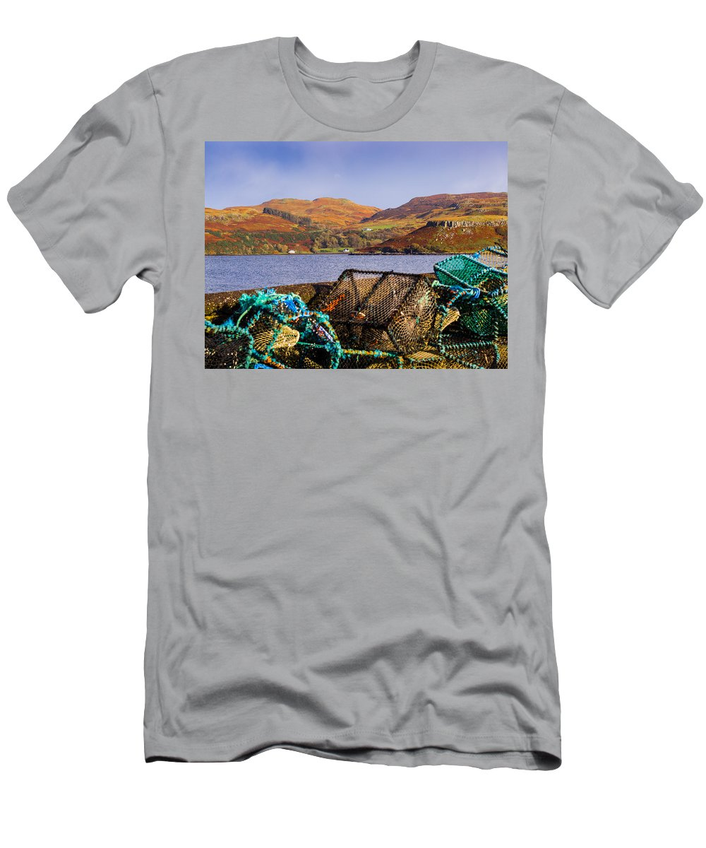 Blue Men's T-Shirt (Athletic Fit) featuring the photograph Skye Fishing Pots by Mark Llewellyn
