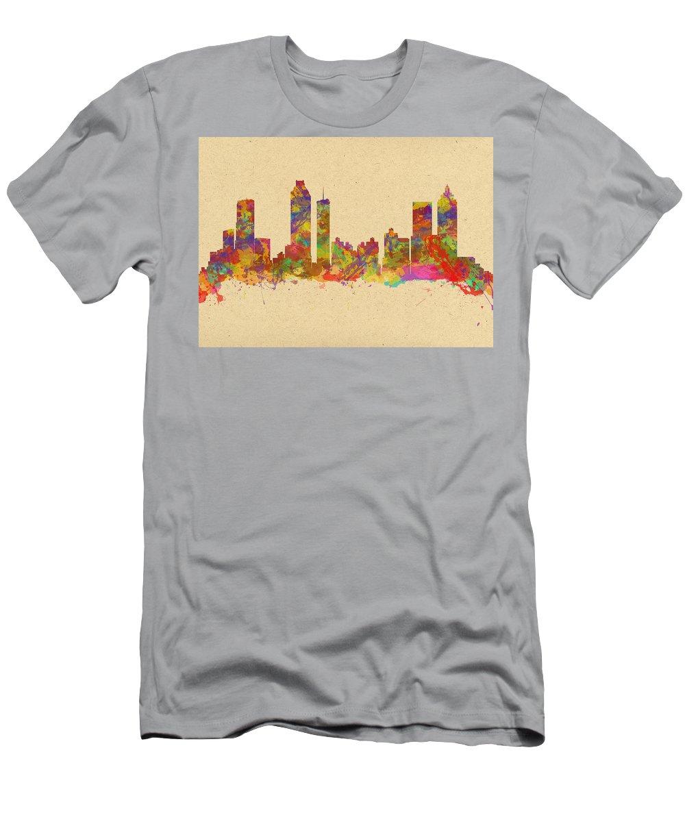 Atlanta Men's T-Shirt (Athletic Fit) featuring the photograph skyline of Atlanta Georgia by Chris Smith