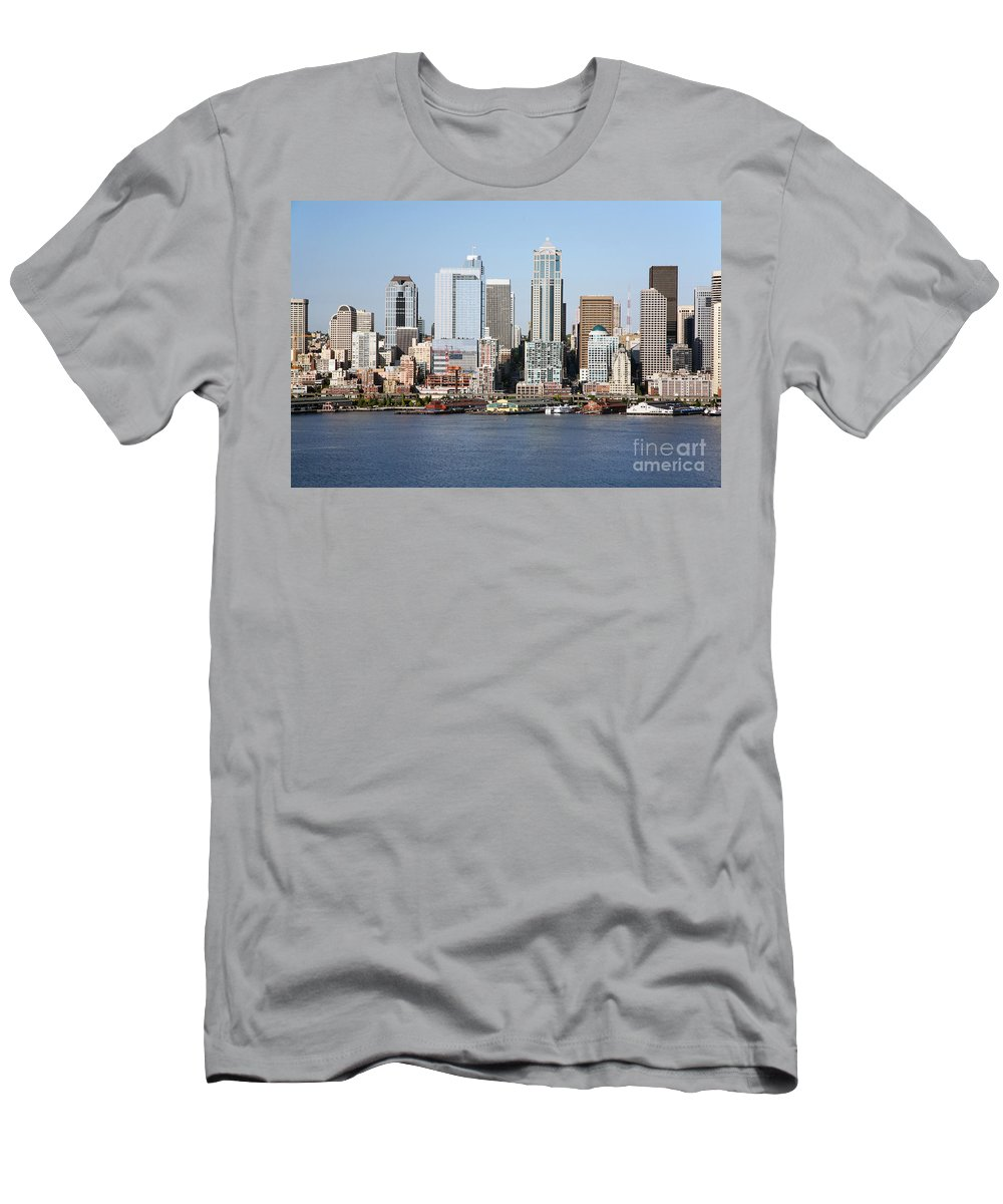 Aerial Men's T-Shirt (Athletic Fit) featuring the photograph Skyline Of Seattle by Bill Cobb