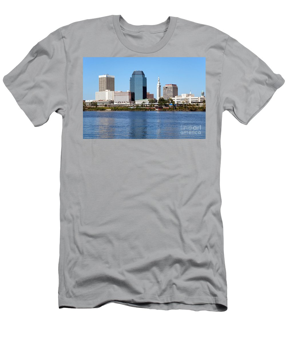 City Men's T-Shirt (Athletic Fit) featuring the photograph Skyline Of Springfield by Bill Cobb