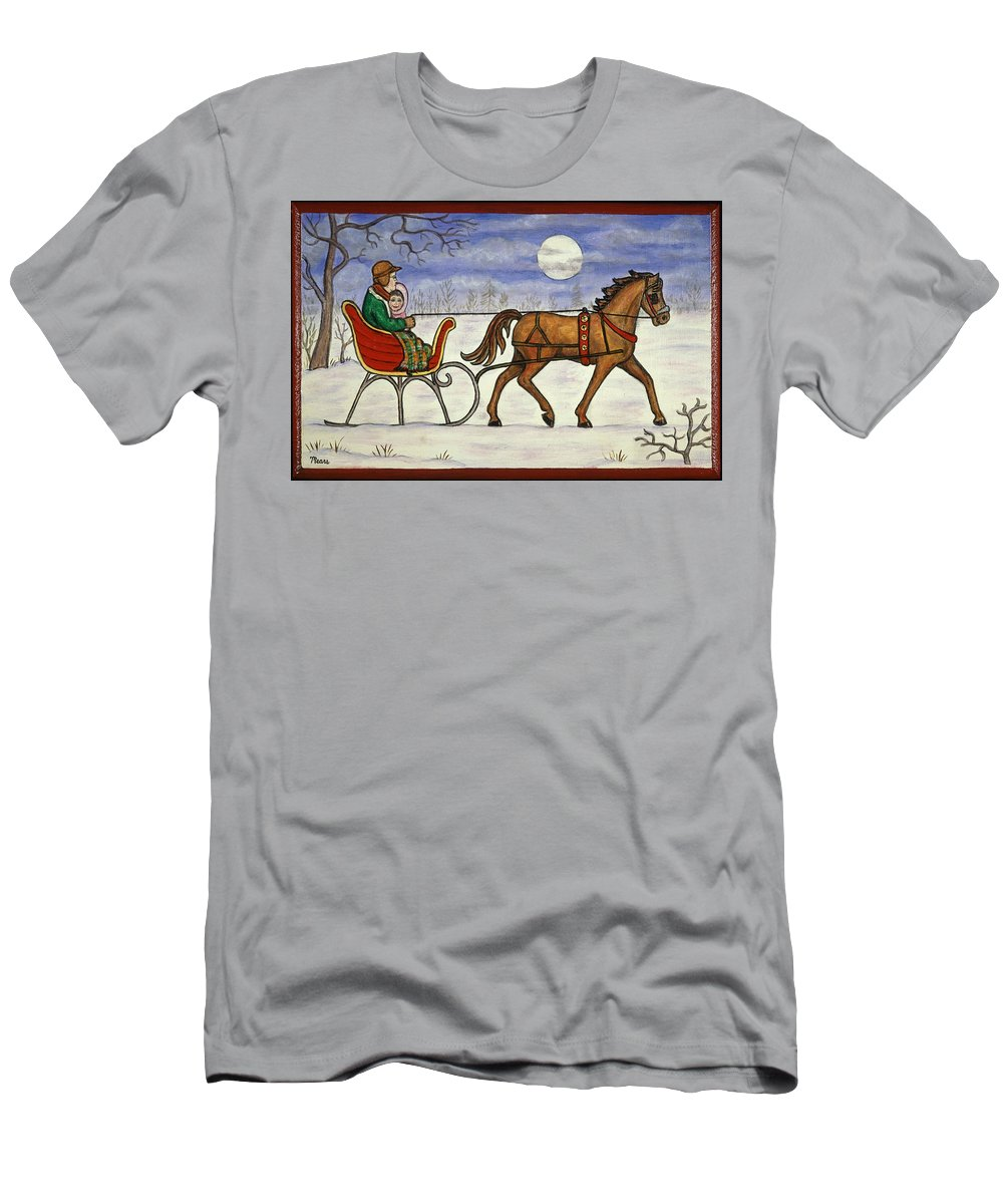 Folk Art Christmas Men's T-Shirt (Athletic Fit) featuring the painting Sleigh Ride With Grandpa by Linda Mears