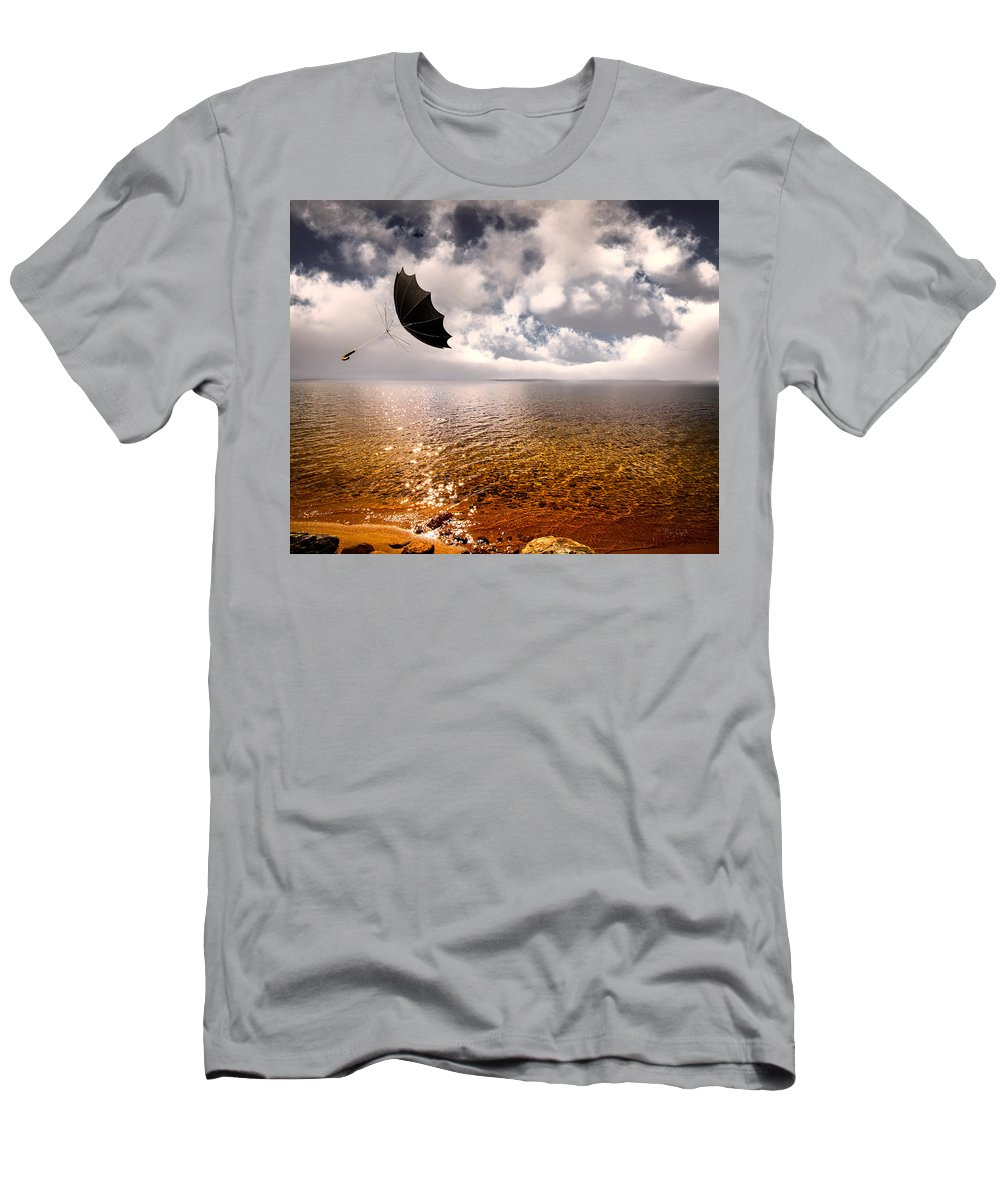 Umbrella Men's T-Shirt (Athletic Fit) featuring the photograph Slight Chance Of A Breeze by Bob Orsillo