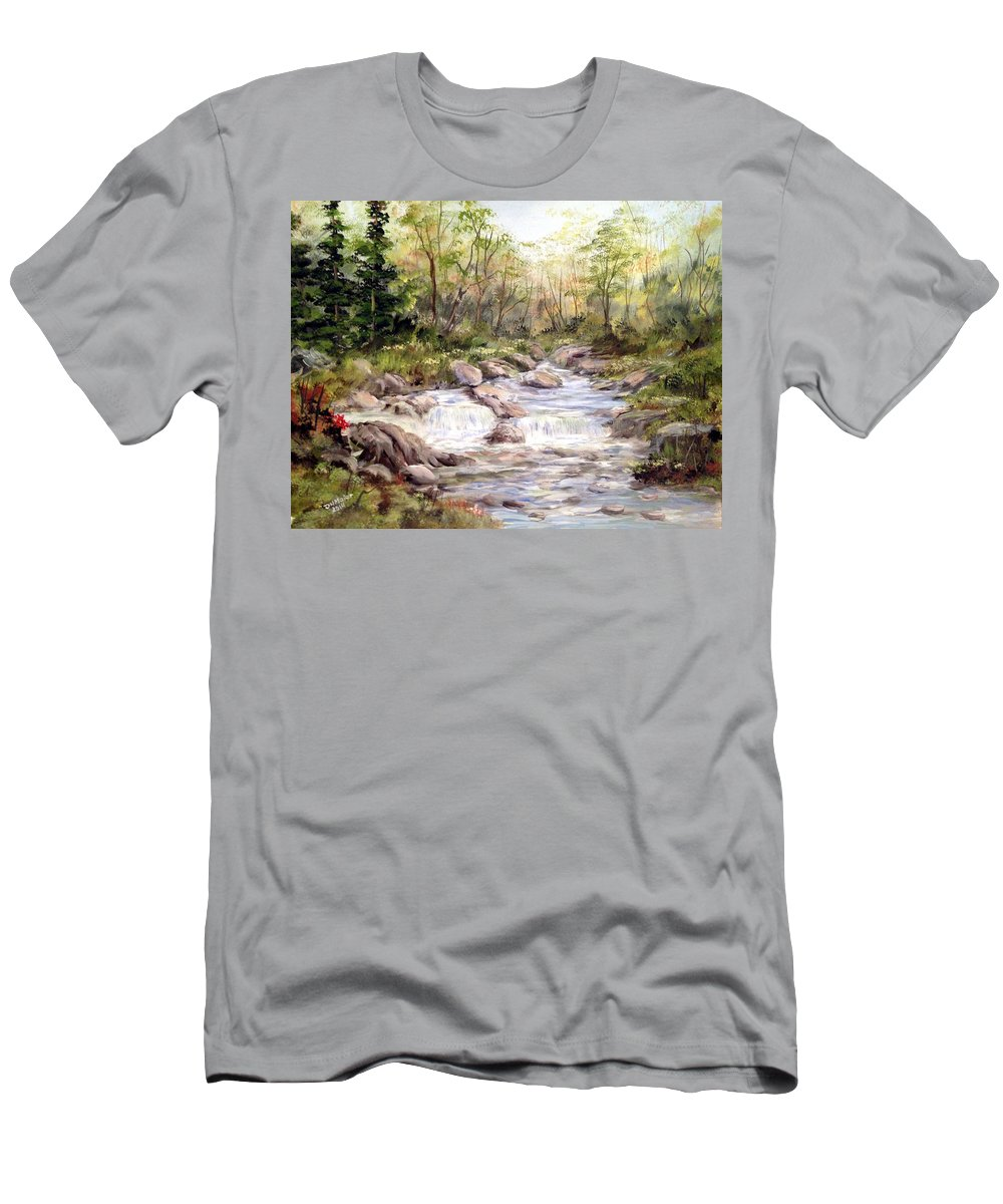 Falls Painting Men's T-Shirt (Athletic Fit) featuring the painting Small Falls In The Forest by Dorothy Maier