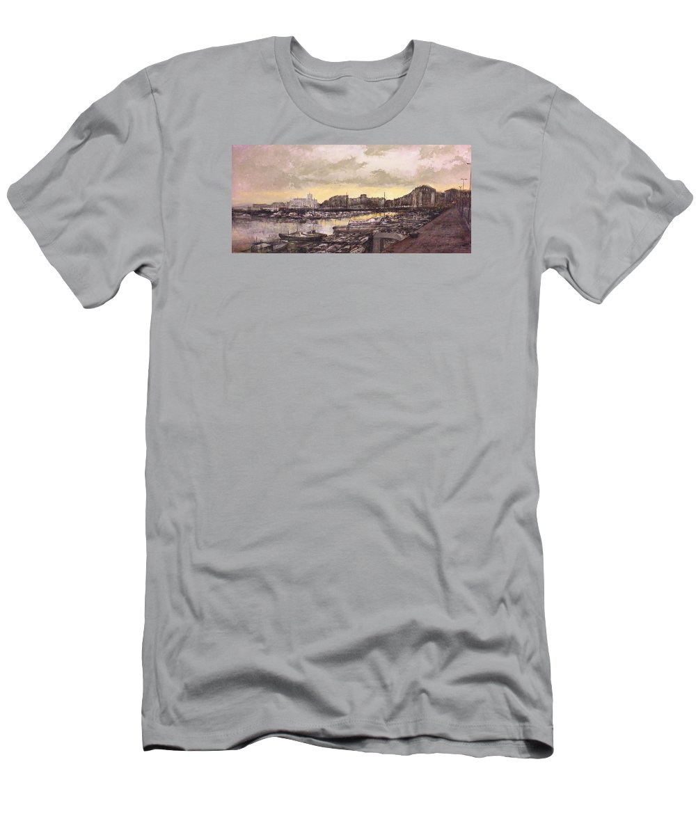 Small Port T-Shirt featuring the painting Small-port Santander by Tomas Castano