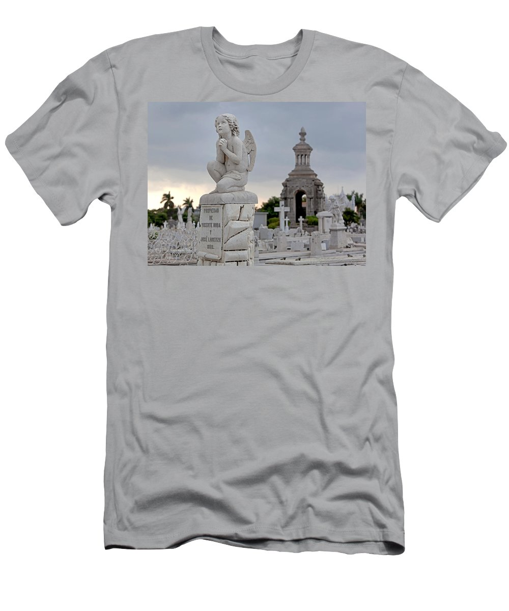 Angel Men's T-Shirt (Athletic Fit) featuring the photograph Small Praying Angel And Chapel by Terry Reynoldson
