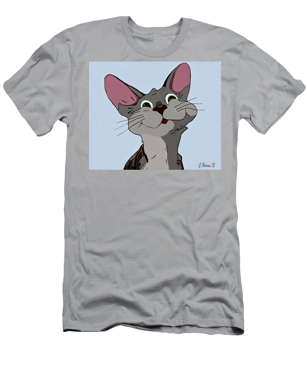 Cat Men's T-Shirt (Athletic Fit) featuring the mixed media Smiling Cat by Catherine Harms