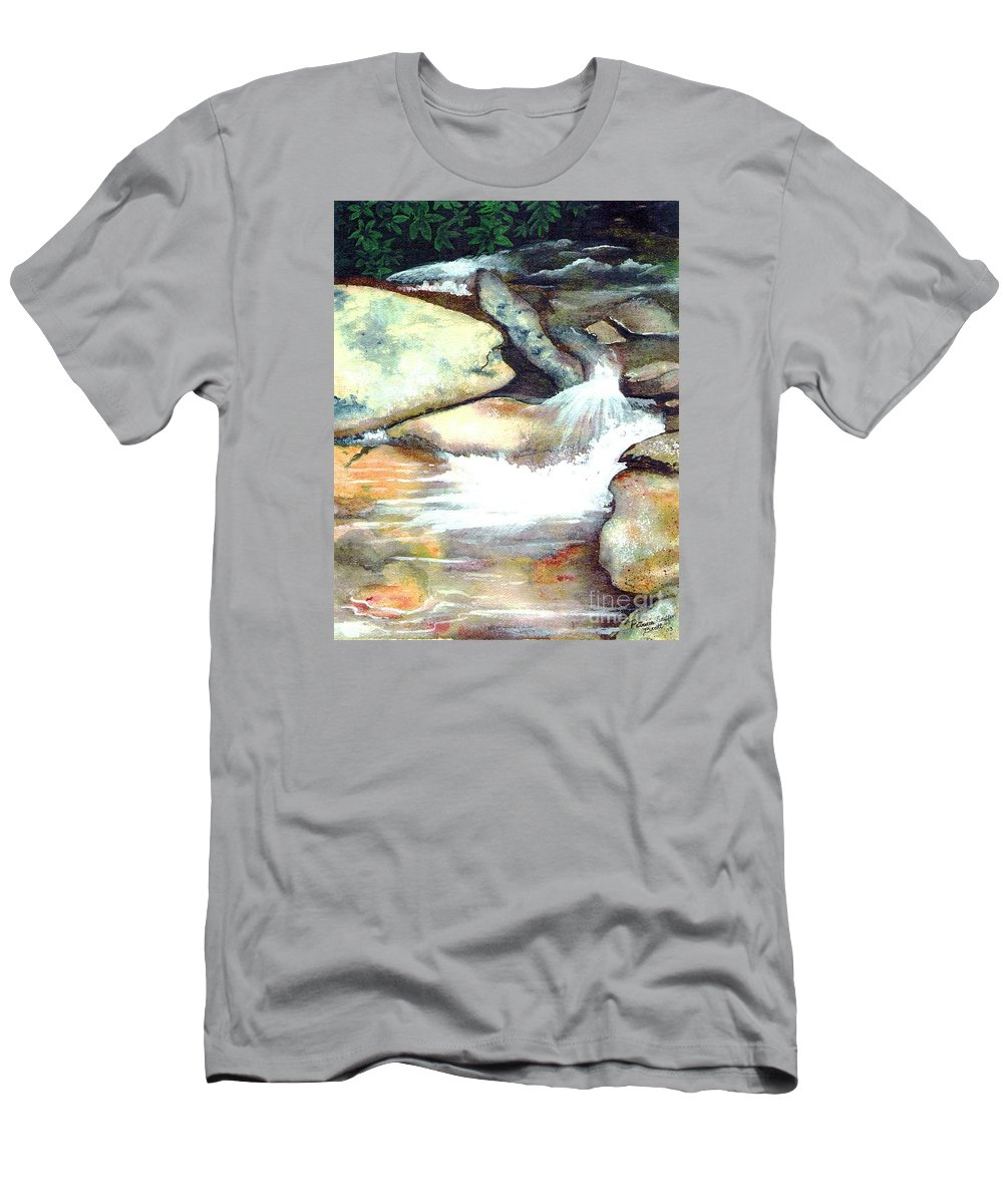Fine Art Men's T-Shirt (Athletic Fit) featuring the painting Smoky Mountains Waterfall by Patricia Griffin Brett