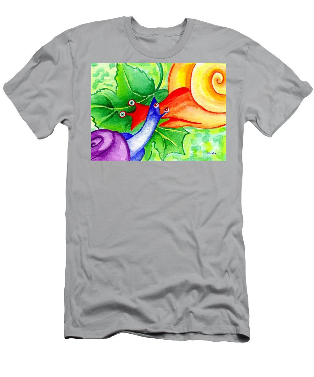 Animals Men's T-Shirt (Athletic Fit) featuring the painting Snail Love by Lori Ziemba