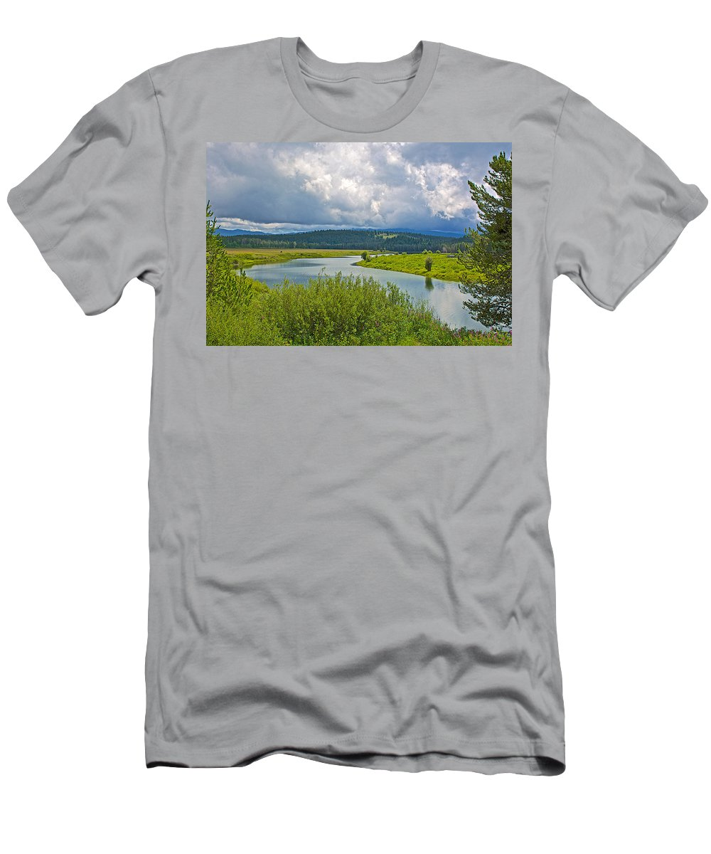 Snake River By Oxbow Bend In Grand Teton National Park Men's T-Shirt (Athletic Fit) featuring the photograph Snake River By Oxbow Bend In Grand Teton National Park-wyoming by Ruth Hager